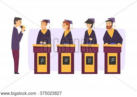 People Playing On Quiz Show, Participants Wearing Robe And Graduation Cap Answering Questions On Tel