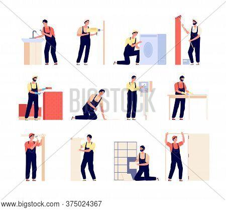 Repairman. Home Workers, Electrician Carpenter And Painter. Flat Men With Repair Tools, People Renov