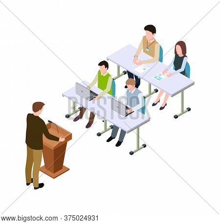 Business Conference. Isometric Students Or Visitors, Man Speaker On Tribune. 3d Advertising Marketin