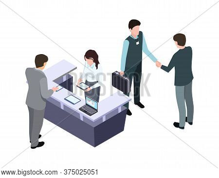 Isometric Administrator. Woman Talk With Man. Business Meeting And Handshake. People On Conference O