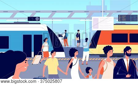 Railway Station. Trains Transport, City Tourism And Traveller. Crowd With Suitcases On Commuter Trai