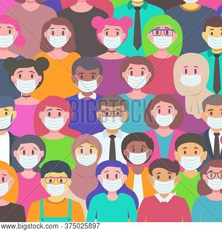 People In White Medical Face Mask Vector Set - Novel Coronavirus 2019-ncov. Concept Of Coronavirus Q