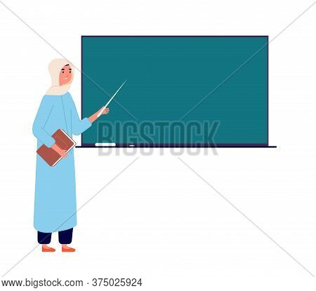 Arab Woman Teacher. Muslim Businesswoman At Blackboard, Islamic School Office. Cartoon Female In Hij