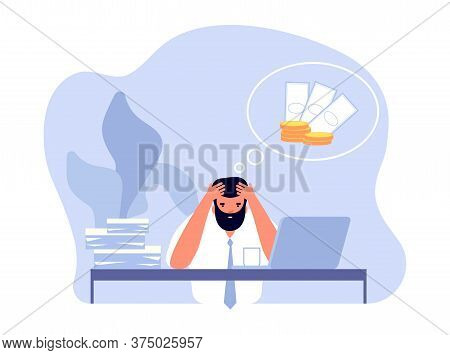 Financial Problem. Businessman Headache, Business Trouble And Work Stress. Frustrated Office Man Nee