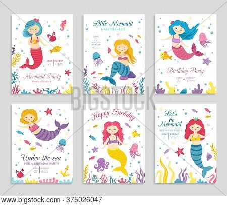 Mermaid Invite Cards. Birthday Poster, Kids Party Invitation. Cute Ocean Princess And Animals Flyers