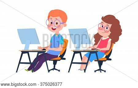 Children And Computer Science. Informatics Lesson, Cartoon Boy Girl At Desks With Monitors. Kids Lea