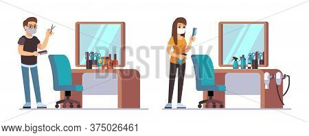 Hairdresser Characters. Welcome To Barbershop, Male Female Barbers Waiting Customers. Man Woman Styl