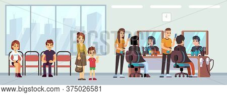 Queue In Barber Shop. People Waiting Haircut, Cartoon Women Men Child In Parlor. Hairdressing Salon