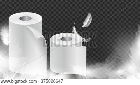 Realistic Toilet Paper. Soft White Papers Or Cloth Rolls With Feathers Banner. Hygiene, Kitchen Or B