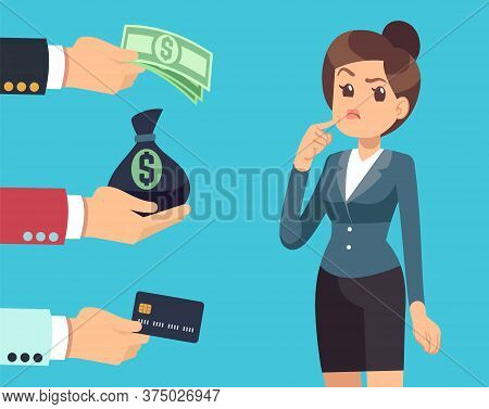 Woman Chooses Investor. Business Woman Thinking, Men Offer Money. Investing In Idea, Paying Or Raisi
