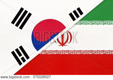 South Korea Or Rok And Iran Or Persia, Symbol Of National Flags From Textile. Relationship, Partners