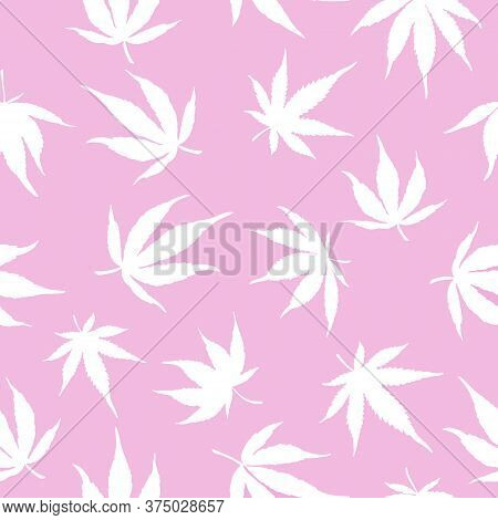 Seamless Pattern Of White Hemp On A Pink Background.white Hemp Leaves On A Pink Background. Marijuan