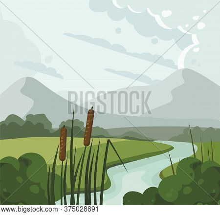 River Landscape With Reed And Hills. Vector Illustration