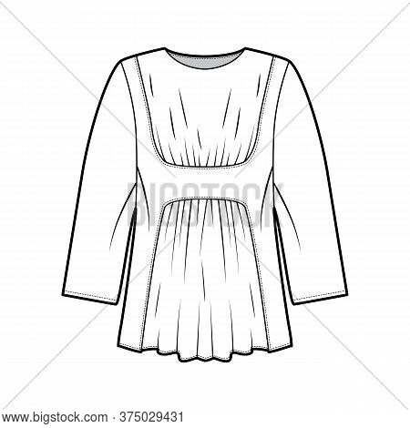 Blouse Technical Fashion Illustration With Oversized Body, Gathered Front And Back, For A Pleated Ef