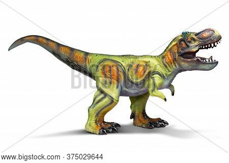 Rubber Dinosaur Toy Isolated On White Background With Clipping Path