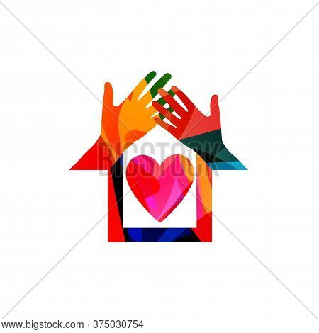 Home, Family Concept, House Insurance, Property Protection Vector Illustration. Colorful Hands Build
