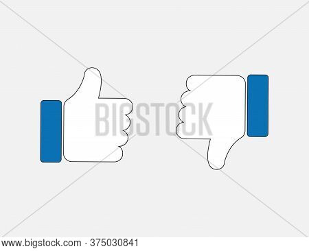Thumbs Up And Down. Like And Unlike Fingers In Blue Flat Design. Positive And Negative Symbol. Appro