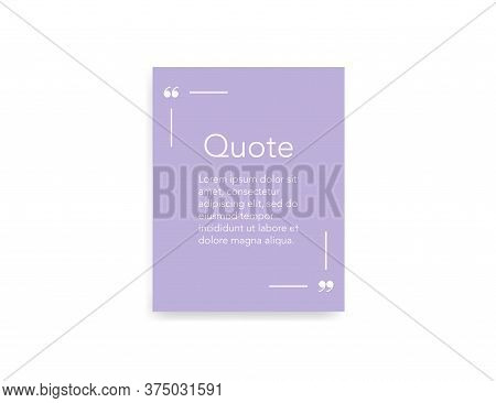Quote Frame Template In Light Pink Color. Quotation Remark Border With Comma Icons. Speech Bubble La