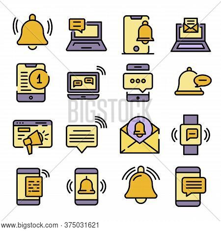 Notification Icons Set. Outline Set Of Notification Vector Icons Thin Line Color Flat On White