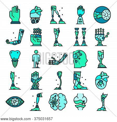 Artificial Limbs Icons Set. Outline Set Of Artificial Limbs Vector Icons Thin Line Color Flat On Whi