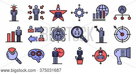 Managing Skills Icons Set. Outline Set Of Managing Skills Vector Icons Thin Line Color Flat On White