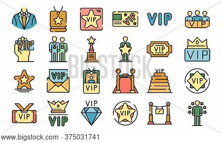 Vip Icons Set. Outline Set Of Vip Vector Icons Thin Line Color Flat On White