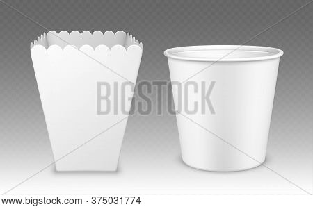 Blank Bucket For Popcorn, Chicken Wings Or Legs White Mockup Isolated On Transparent Background. Emp