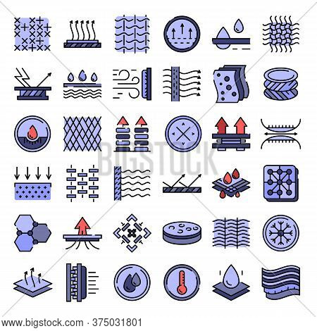 Fabric Feature Icons Set. Outline Set Of Fabric Feature Vector Icons Thin Line Color Flat On White