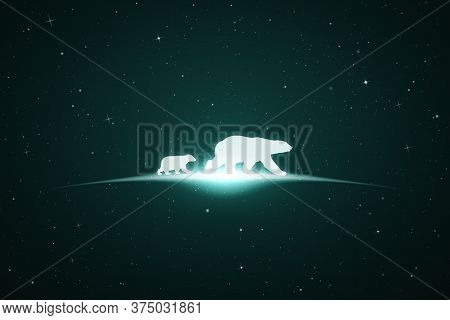 Bear Family In Space. Vector Conceptual Illustration With White Silhouettes Of Endangered Animals An