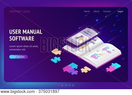 User Manual Software Isometric Landing Page, Guide Book With Tech Documents On Mobile Phone Screen.