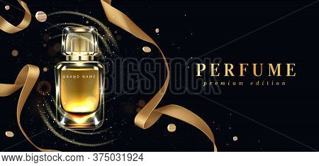 Perfume Bottle With Gold Ribbons On Black Background With Confetti And Glowing Sparkles. Scent Glass