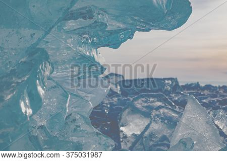 Pile Of Baikal Ice Hummocks In Winter