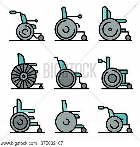 Wheelchair Icons Set. Outline Set Of Wheelchair Vector Icons Thin Line Color Flat On White