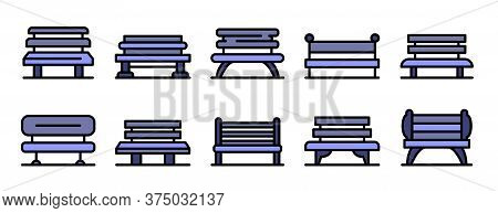 Park Bench Icons Set. Outline Set Of Park Bench Vector Icons Thin Line Color Flat On White