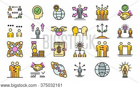 Business Cooperation Icons Set. Outline Set Of Business Cooperation Vector Icons Thin Line Color Fla