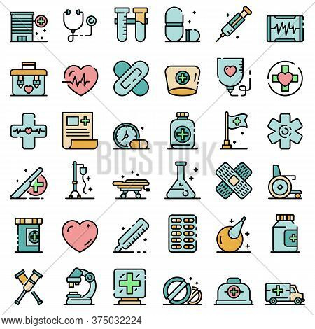 First Medical Aid Icons Set. Outline Set Of First Medical Aid Vector Icons Thin Line Color Flat On W
