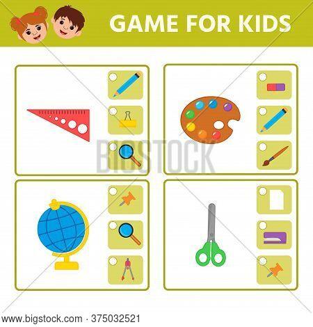 Educational Worksheet For Children. Game For Kids. Find Matching Item. Activity Worksheet For Kids L