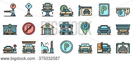 Underground Parking Icons Set. Outline Set Of Underground Parking Vector Icons Thin Line Color Flat