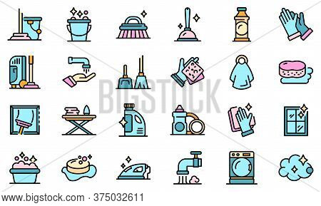 Housekeeping Icons Set. Outline Set Of Housekeeping Vector Icons Thin Line Color Flat On White