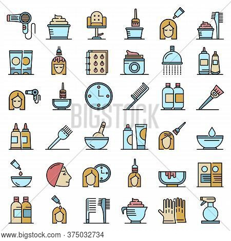 Hair Dye Icons Set. Outline Set Of Hair Dye Vector Icons Thin Line Color Flat On White