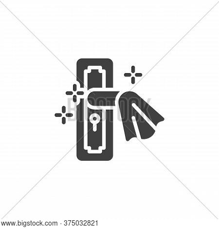 Clean Door Handle Vector Icon. Filled Flat Sign For Mobile Concept And Web Design. Disinfect Door Ha