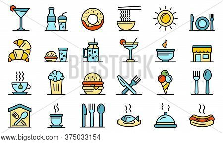 Food Courts Icons Set. Outline Set Of Food Courts Vector Icons Thin Line Color Flat On White