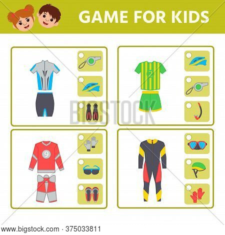 Educational Worksheet For Children. Game For Kids. Find Matching Item. Sports Uniforms. Activity Wor