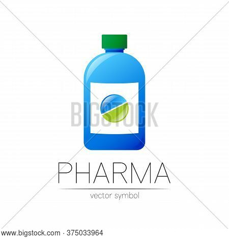 Pharmacy Vector Symbol With Blue Bottle And Green Pill Tablet For Pharmacist, Pharma Store, Doctor A