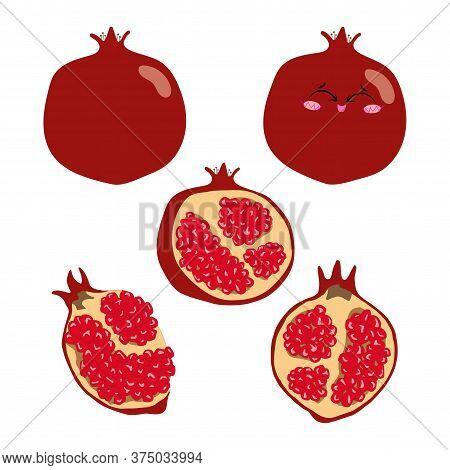 Collection Of Vector Illustrations Of Pomegranate Whole, Half And Slices In Flat Style. Set Of Red P