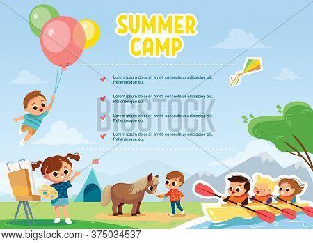 Children enjoy summer. Summer activity. Boy flying with balloons. Boy feeding a pony. Kids kayaking.