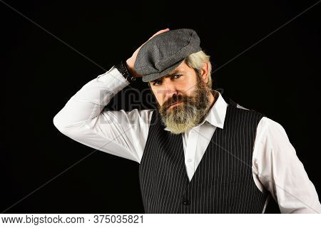 Real Masculinity. Masculine Appearance. Bearded Guy On Black Background. Beard Grooming. Retro Gentl