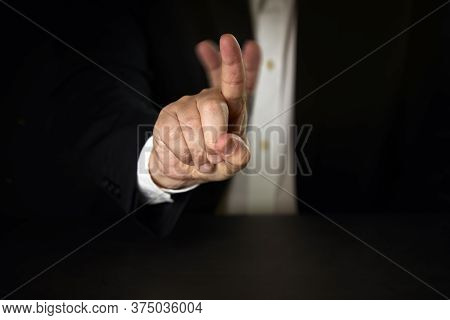 Businessman Denying With His Finger. Business Concept.