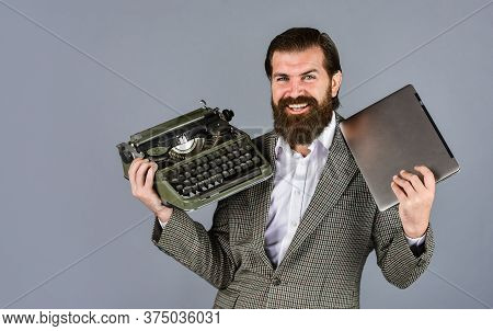 Mechanical Vs Digital. Writer Writes With Typewriter And Laptop. Bearded Man In Jacket With Retro Ty