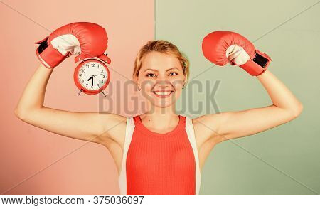 Time Management Skills. Battle For Self Discipline. Woman Holding Clock Boxing Gloves. Boxer Fightin